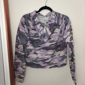 Tops - Purple Cropped Camo Hoodie